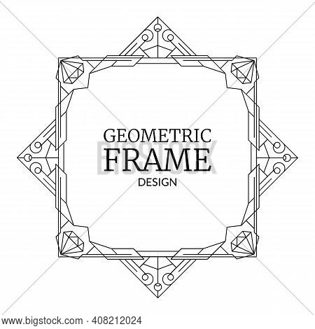 Vector Illustration Geometric Frame With Diamonds. Retro Line Art Deco Geometry Pattern, Trendy Bord