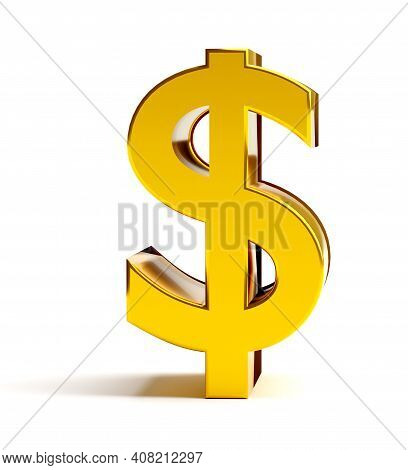 Finance And Business Symbol. Gold Dollar Sign. 3d Rendering