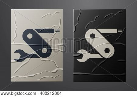 White Swiss Army Knife Icon Isolated On Crumpled Paper Background. Multi-tool, Multipurpose Penknife