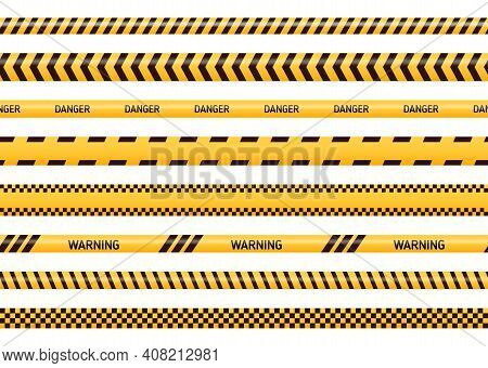 Caution And Danger Tapes In Yellow And Black Color. Police Attention Line Or Under Construction Ribb