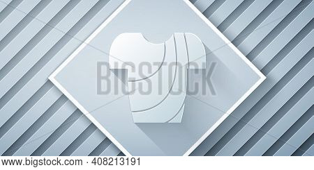 Paper Cut Cycling T-shirt Icon Isolated On Grey Background. Cycling Jersey. Bicycle Apparel. Paper A