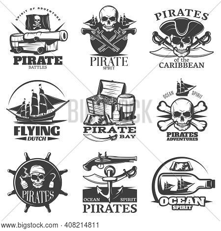 Pirates Emblem Set With Pirate Spirit Flying Dutch Pirate Bay Pirates Adventures Descriptions Vector