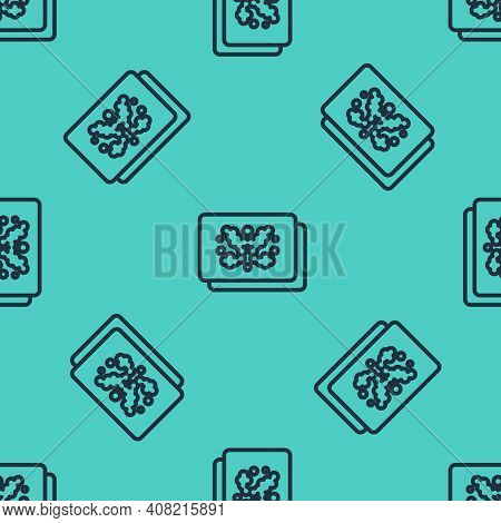 Black Line Rorschach Test Icon Isolated Seamless Pattern On Green Background. Psycho Diagnostic Inkb