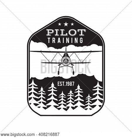 Pilot Training Academy Emblem Logo Template. Flying School Silhouette Label With Retro Biplane. Stoc