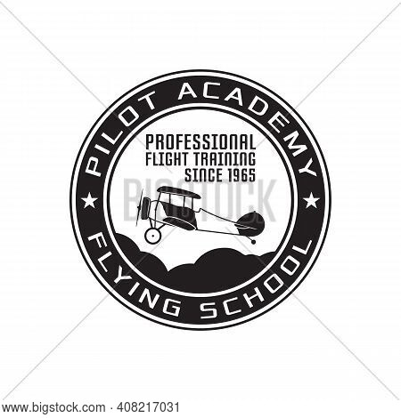 Pilot Academy Emblem Logo Template. Flying School Silhouette Label With Retro Biplane. Stock Vector