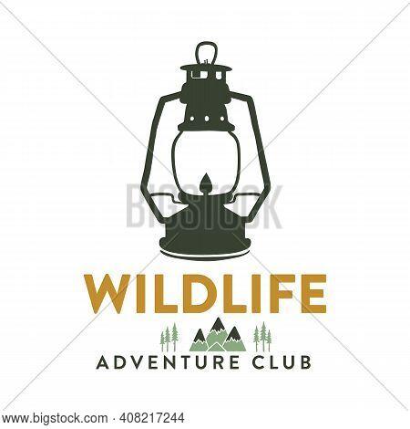 Camping Adventure Logo Emblem Illustration Design. Vintage Outdoor Label With Camp Lantern Symbol An