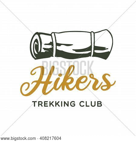 Camping Adventure Logo Emblem Design. Vintage Outdoor Label With Camp Mat And Text - Hikers Trekking