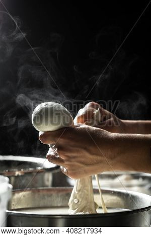 Cheese Production Process, Homemade Cheese Producer, Produces Handmade Mozzarella. Pasta Filata, Tra