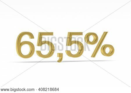 Gold Digit Sixty-five Point Five With Percent Sign - 65,5% Isolated On White - 3d Render