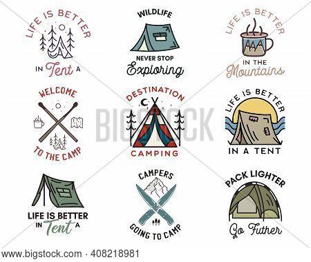 Camping Adventure Badges Logos Set, Vintage Travel Emblems. Hand Drawn Line Art Stickers Designs Bun