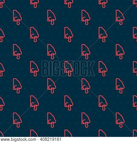 Red Line Runny Nose Icon Isolated Seamless Pattern On Black Background. Rhinitis Symptoms, Treatment