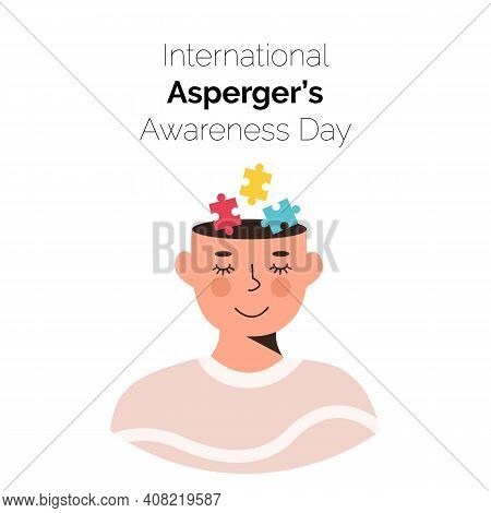 International Asperger Awareness Day Card. Smiling Person Face With Colorful Puzzle Pieces In His He