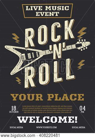 Rock Music Vector Flyer, Live Event Poster Background Template With Guitar. Rock N Roll Background.