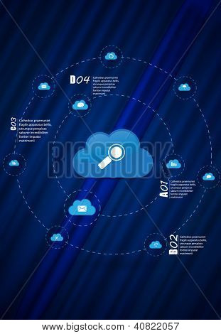Cloud computing icon, vector illustration