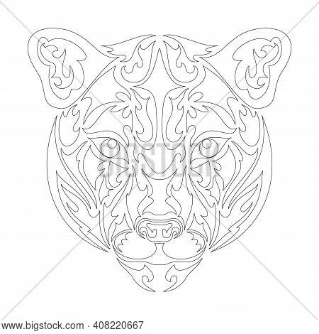 Hand Drawn Abstract Portrait Of A Puma. Vector Stylized Illustration For Tattoo, Logo, Wall Decor, T