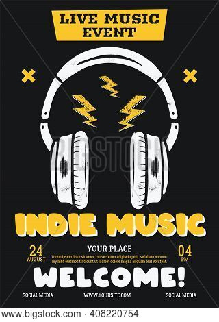 Indie Music Vector Flyer, Live Event Poster Background Template With Headphones. Vector Design Illus