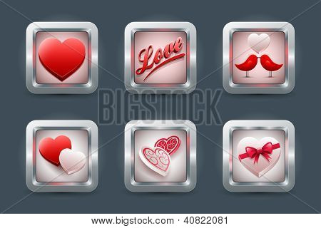 Vector love application icon set for mobil devices. Valentine's day, wedding, engagement or dating concept. Elements are layered separately in vector file. Easy editable content.