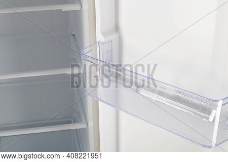 Home Appliance - Inside Closeup Open Two-door White Refrigerator