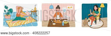 Set Of Woman Doing Different Activities. Doing Yoga, Preparing Food In Kitchen And Playing The Guita