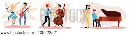 Set Of Musicians Play Instruments: Piano, Bass Guitar, Double Bass And Saxophone. Hobbies And  Stage