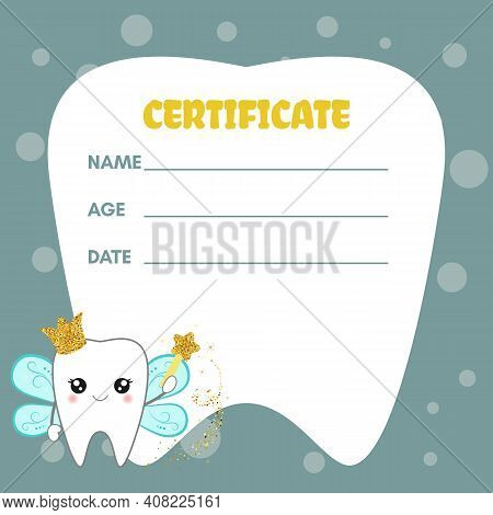 Cute Tooth Fairy Receipt Certificate. Document Design To Reward Children Who Loose Their Baby Teeth.