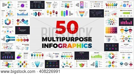 50 Multipurpose Infographics. Presentation Slides. Special Offer. This Bundle Contains Different Inf