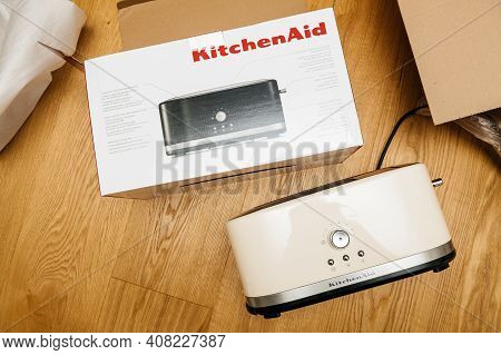 Paris, France - Feb 1, 2021: View From Above Of New Kitchenaid 5kmt4116eac Toaster Luxury Product Wi