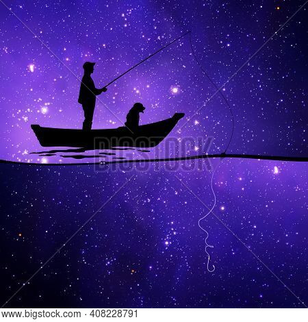 Man With Dog In Boat At Starry Night. Fisherman Silhouette. One Line Female Face