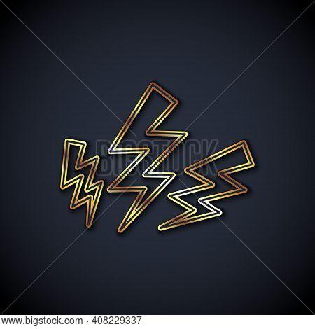 Gold Line Zeus Icon Isolated On Black Background. Greek God. God Of Lightning. Vector