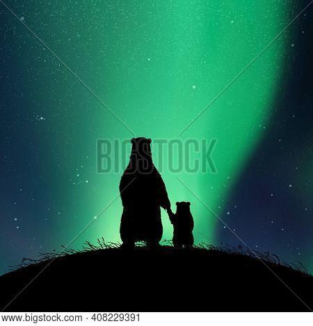 Bears Family At Night. Animal Silhouettes On Hill. Aurora Borealis