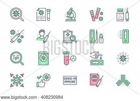 Coronavirus Test Line Icons. Vector Illustration Include Icon - Vaccine Clinical Trial, Antibody, Ra