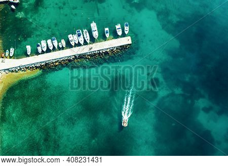 Aerial View Of Amazing Boats In Croatia. Minimalistic Landscape Background With Boats And Sea In Mar
