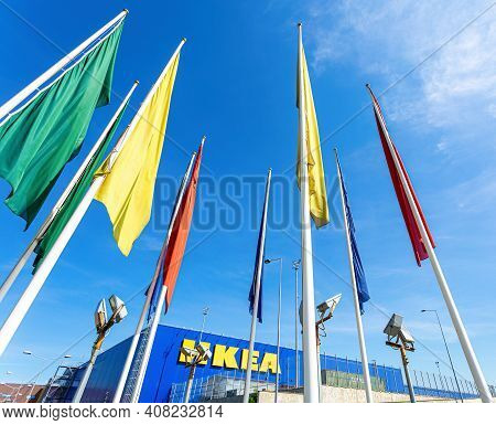 Samara, Russia - June 1, 2019: Exterior View Of The Famous Ikea Furniture Store And Flags
