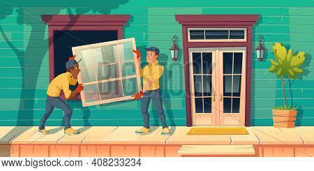 Workers Install Glass Window At House. Construction And Repair Works Service. Vector Cartoon Illustr