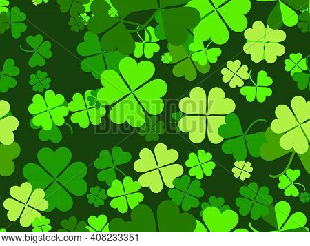 Clover Seamless Pattern For Saint Patrick's Day. Four-leafed And Three-leafed Clover. Background For