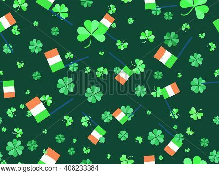 Clover And Irish Flag Seamless Pattern For Saint Patrick's Day. Four-leafed And Three-leafed Clover.