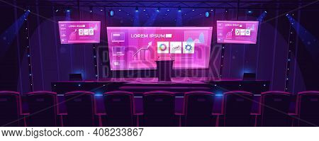 Stage With Tribune, Screens On Background And Spotlights. Vector Cartoon Illustration Of Empty Scene
