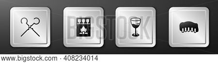 Set Bbq Skewers, Matchbox And Matches, Wine Glass And Grilled Pork Bbq Ribs Icon. Silver Square Butt