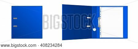Binder Folder With Files In Plastic Punched Pockets And Ringbinder Top View Mockup. Closed And Open