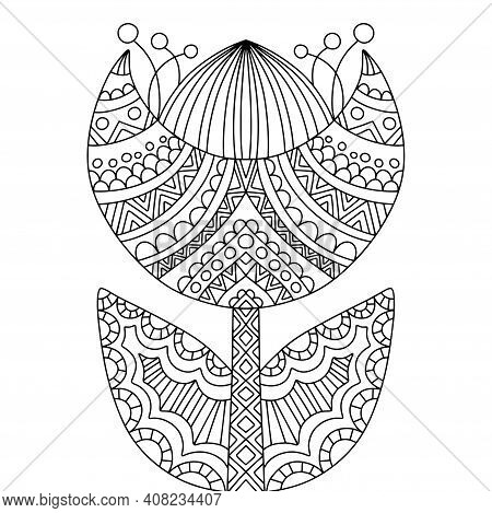 Black, Flower, Ornament, Floral, Spring, Summer, Vector, Decorative, Geometric, Natural, Petal, Whit
