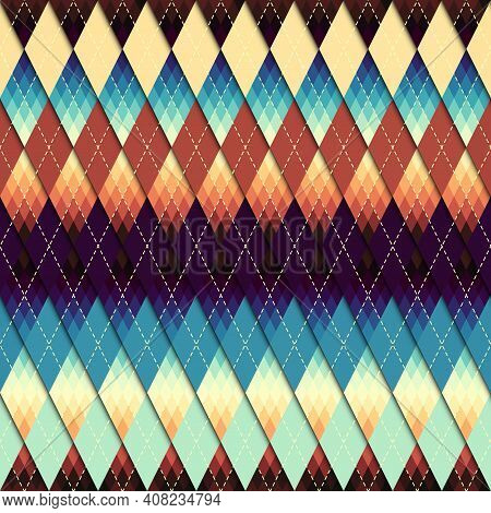 Argyle Seamless Vector Pattern Background. Pattern Of A Rhombuses.