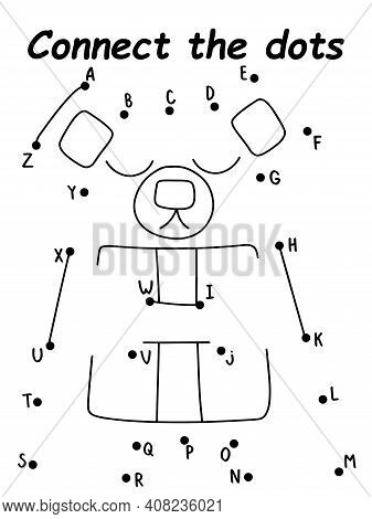 Cartoon Teddy Bear Connect The Dots Puzzle Stock Vector Illustration. Dot-to-dot Game With Funny Bea