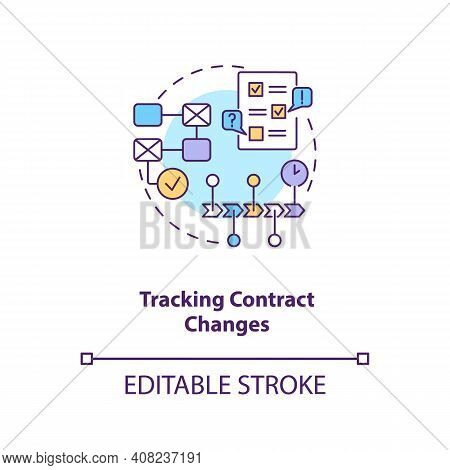 Tracking Contract Changes Concept Icon. Contract Management Software Functions. Contract Administrat
