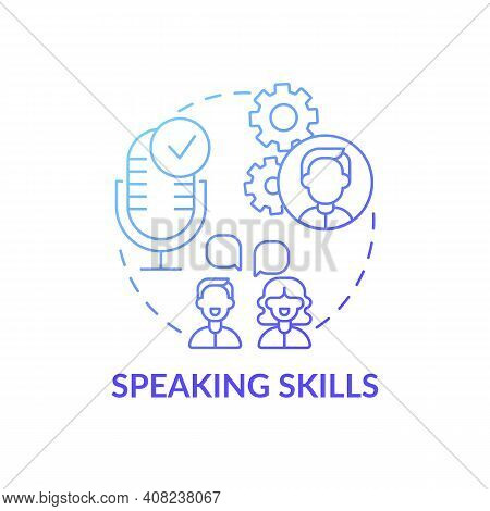 Speaking Skills Concept Icon. Language Learning Competence Idea Thin Line Illustration. Improving Sp