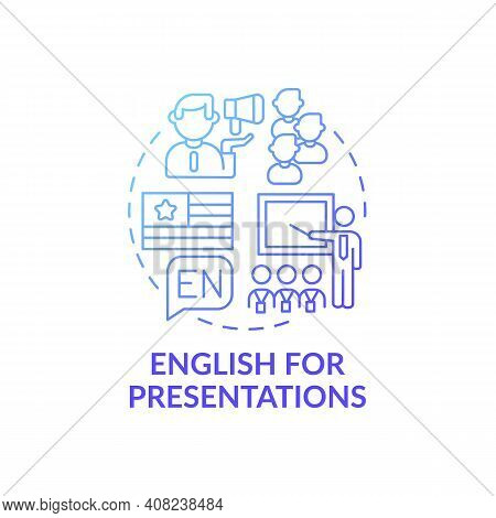 English For Presentations Concept Icon. Business English Purpose Idea Thin Line Illustration. Welcom