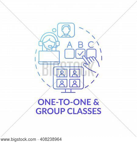 One-to-one And Group Classes Concept Icon. Online Language Courses Benefit Idea Thin Line Illustrati
