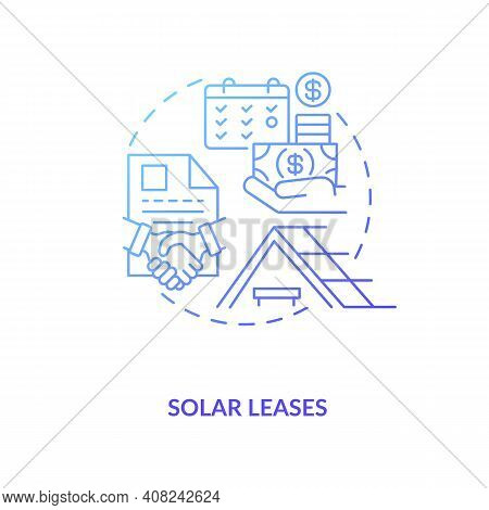 Leasing Arrangement And Monthly Payments Concept Icon. Installing Rooftop Panels On Home Idea Thin L