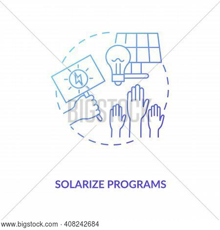 Solar Photovoltaic Group-purchasing Program Concept Icon. Sale Electricity To Buyer Idea Thin Line I