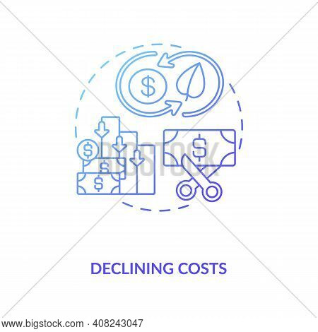 Gas And Hydro Plants For Power Generation Concept Icon. Declining Costs Idea Thin Line Illustration.