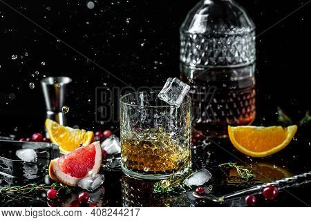 Alcoholism, Alcohol Addiction And People Concept - Male Alcoholic With Bottle And Glass Drinking Whi